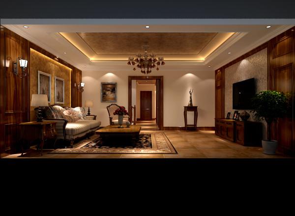 玄关的设计在保持安静私密的同时,让您步入客厅时有一种豁然开朗的感觉活动家具的选用极具心思,弧线勾勒的沙发,雕花电视柜,华丽灯饰等都渗透着浓浓的艺术影子,经过设计师精心的配搭,呈现丰富的视觉效果。