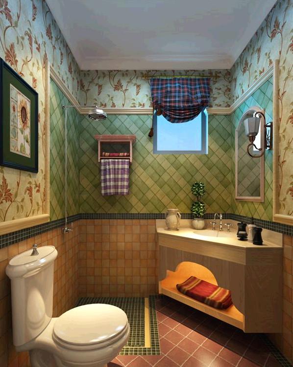 瀚海泰苑欧美风格装修设计-美式卫生间效果图