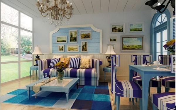 一居室地中海客厅吊顶设计效果图