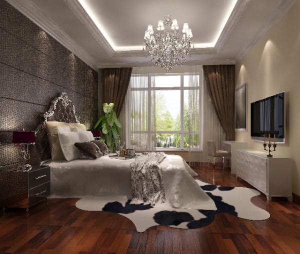 卧室隐于客厅电视墙后,布局与色调呼应统一,体现了设计师的资深功底!