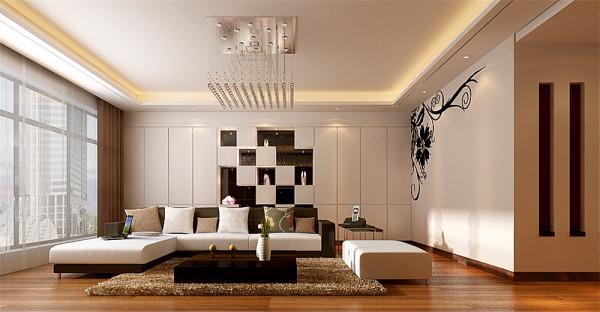 卧室使用了深色壁纸,顶面运用简单的石膏板造型,做出了层次。