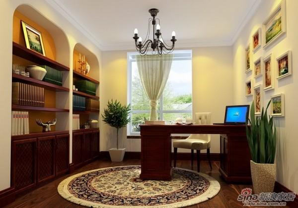 成都实创装饰—整体家装—120平米三居室—地中海风格—书房装修效果图