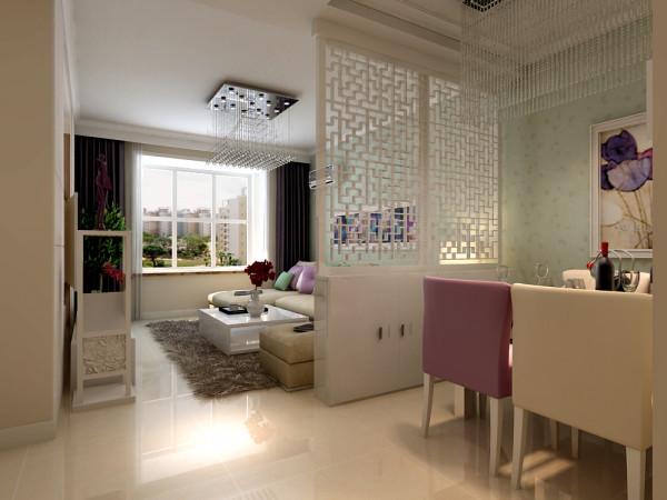 """本案客餐厅划分,设计师采用白色屏风橱柜设计进行其客厅、餐厅的功能划分。错落交错的屏风装饰在保留客餐厅两功能区的隐蔽性同时又巧妙的利用光影透露之态将整体空间维系结合,体现装饰设计中的""""空间设计整体性""""。"""