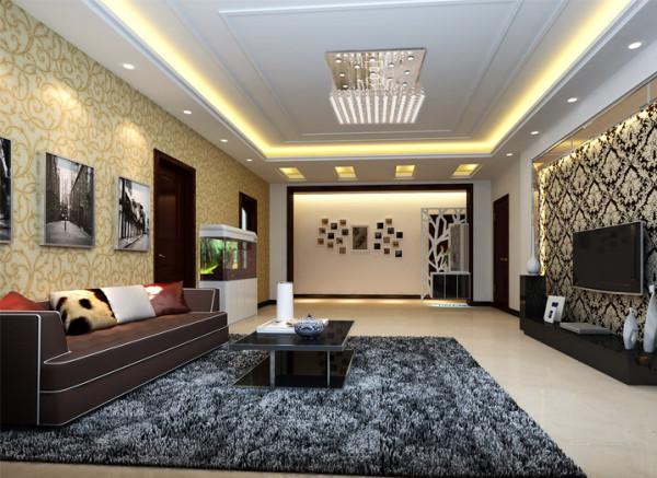 阿尔卡迪亚-126平米现代简约风格装修设计-客厅效果图