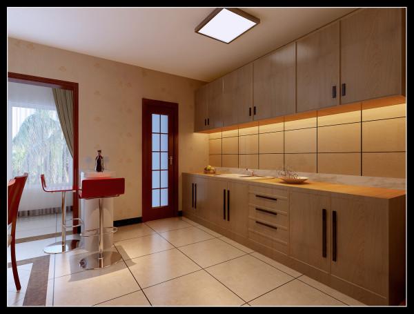 华邦世贸城|典型的现代中式风格厨房装修效果图