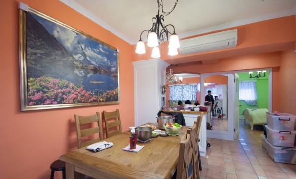 田园风望京小区90平米三居老房装修今朝装饰餐厅高清图片
