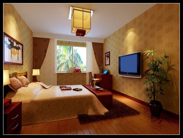 华邦世贸城|典型的现代中式风格卧室装修效果图
