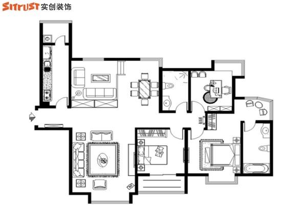 名门华都-158平米欧式装修风格-平面图