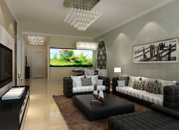 瑞城-94平米现代简约装修-客厅效果图