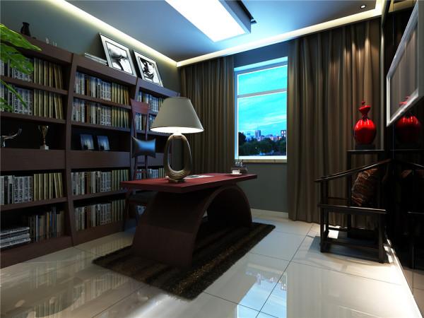 因为一家人都属于文化底蕴很高的人,所以相对来说对书房的设计,要求也会增高。采用暖色调玻化砖和整体书桌书柜颜色呼应,稍微偏中式的休闲椅和新中式的书桌,让整体空间书香味更加浓郁,更加稳重踏实。