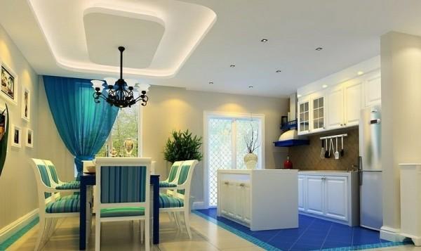 成都实创装饰—整体家装—120平米三居室—地中海风格—餐厅装修效果图