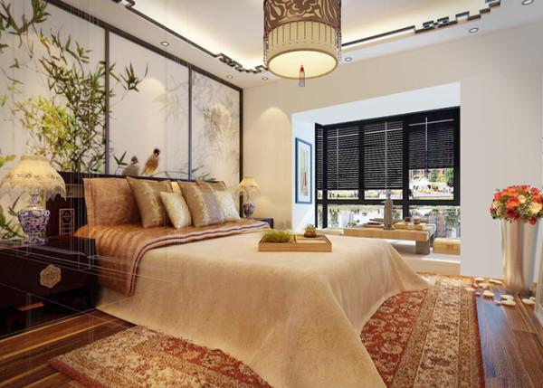 运用黄色和橘色的软装饰使主卧变得更加的温馨,黑胡桃和亮色的结合使室内变得更有档次。