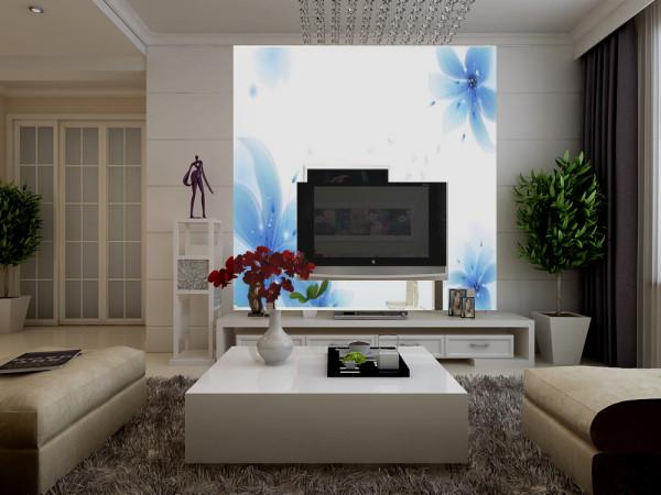 本案客厅电视背景墙设计,设计师采用淡色兰花壁纸进行装饰,摒弃其他多余造型设计。极度体现现代风格设计简洁时尚,而清新的兰花图案在整体设计氛围内显的异常清新脱俗,清雅宁静,给人一种独特的清幽之感。