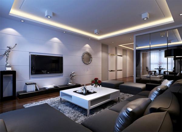 客厅整体突显出一种简单大方的贵族之感,电视背景墙并不做太多的设计,只用材质突显品位。利用白色的瓷砖营造出一种雅致之美,设计师为了避免一白到底的单调,加入了主人中意的灰黑色,再利用灰白的地毯做过度。