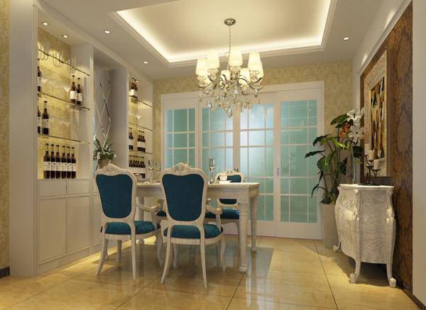 餐桌椅和沙发选择同一个颜色使得餐厅不是独立的存在,酒柜既实用又时尚可以提现了主人的品味。