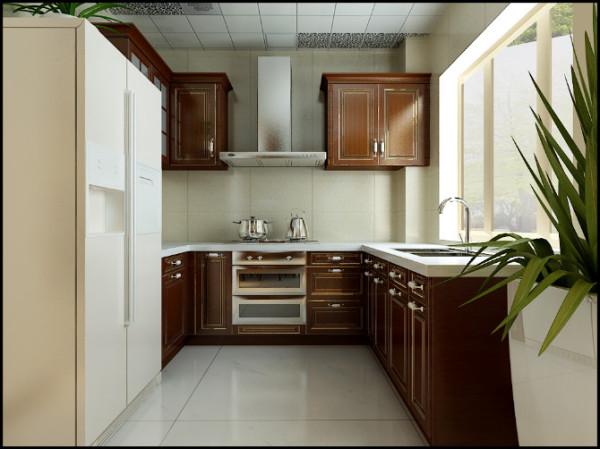 【武汉实创装饰】融科天城130平装修案例/简练干净美式装修设计-厨房设计效果