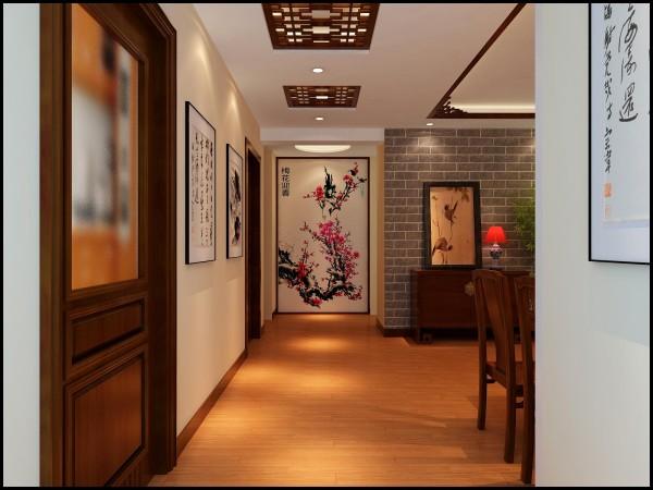 郑州实创装饰-正商新蓝钻138平三居室-过道效果图