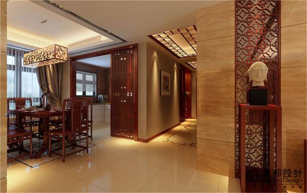 汇智湖畔三居室户型新中式风格装修设计方案展示