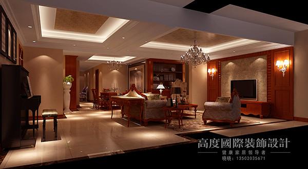 客厅吊顶选用分区域吊顶,电视背景墙选用护墙板做造型,给人一种高端大气的感觉。