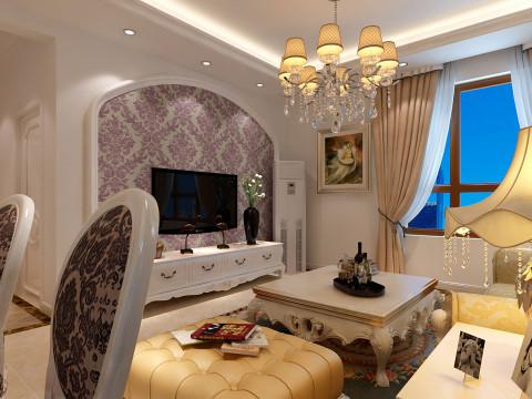 客厅电视背景墙欧式典型的拱形造型,充满了富贵感;紫色的壁纸增添了空间的浪漫温馨气息。
