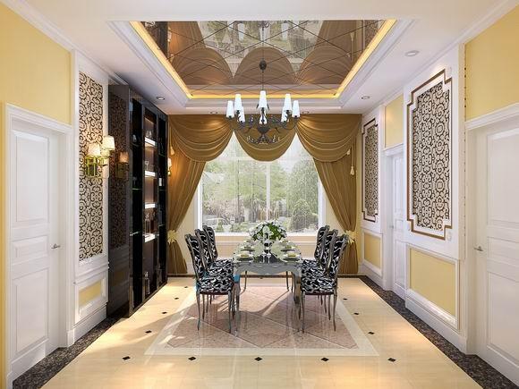 成都实创装饰—整体家装—400平米别墅—别墅装修—装修参考—餐厅装修效果图