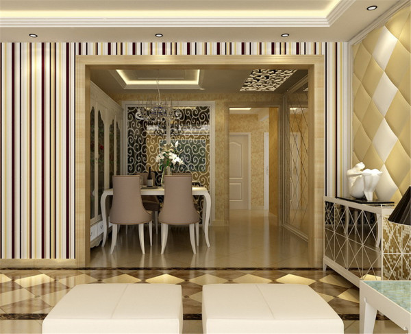 沙发背景则采用了欧式元素比较浓的米色马赛克壁纸,让电视背景与沙发背景很融洽的得到了过度,也让整个空间暖意十足