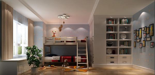 儿童房 设计很简单,没有做太多繁复的造型,只是在储物空间上 比较有要求,俩位爱子的衣物和其他玩具。