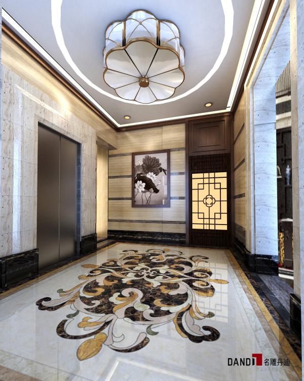 名雕丹迪设计--豪宅别墅--新中式电梯通道