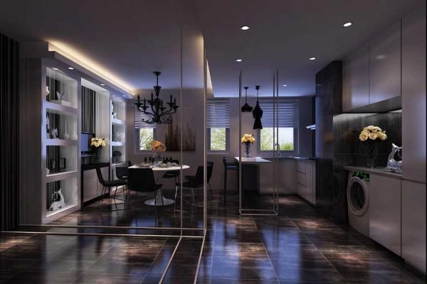 餐厅借用了过道和厨房的空间,但并不感到拥挤,结合厨房整体做到休闲,会客两相宜。