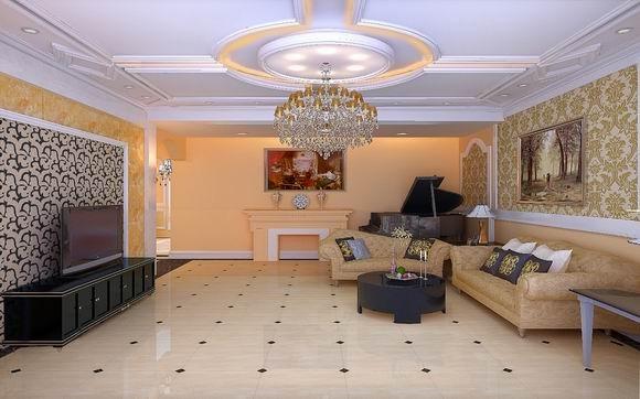 成都实创装饰—整体家装—400平米别墅—别墅装修—装修参考—客厅装修效果图