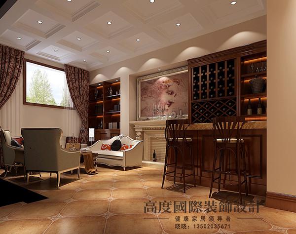 酒吧区域,业主有品酒的爱好,设计师特意个设计了酒吧区域,吊顶选用几何体的造型,酒柜旁边用装饰画做装饰,再加上小吧台很有情调。