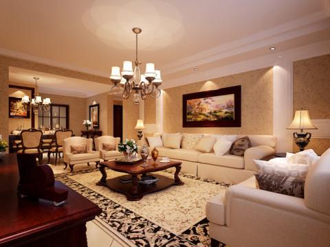 客厅沙发背景墙简约奢华,地毯和装饰画增加了空间的生气,配以美式沙发,有着不过分的张扬,又有其低调的奢华。