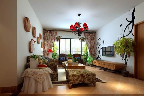 正弘山140平米田园风格——客厅效果图