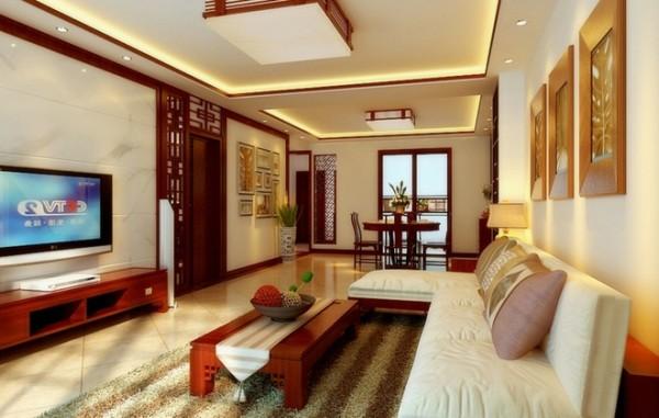天山新公爵150平米新中式风格装修设计客厅效果图展示