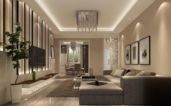 客厅电视背景墙条形图案的使用,使居所虽说简单但并不与单调接轨。