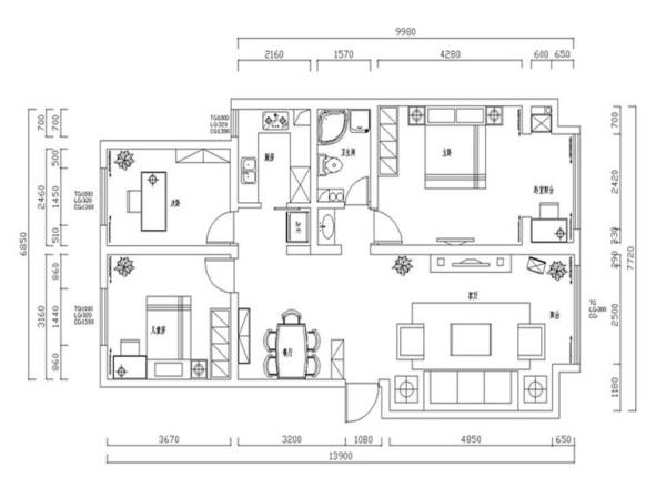 阿尔卡地亚130平三居室平面布局方案