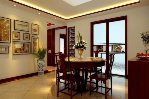 天山新公爵150平米新中式风格装修设计餐厅效果图展示