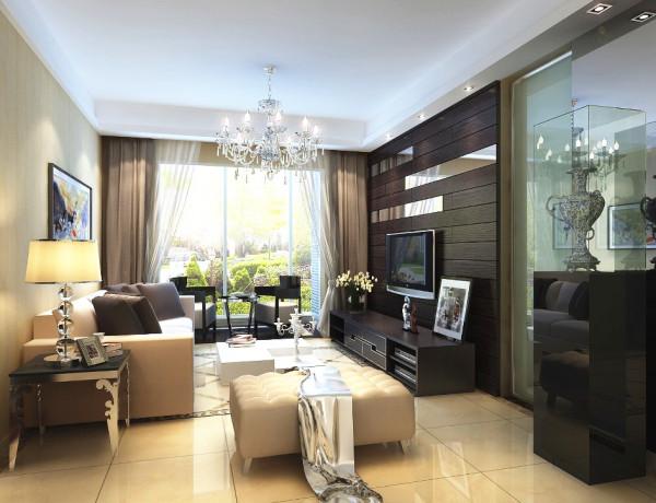 电视背景墙是客厅的主要亮点,以深色实木镶上金属板,环保又时尚,铺上干净的地砖,显得整个空间干净又低调