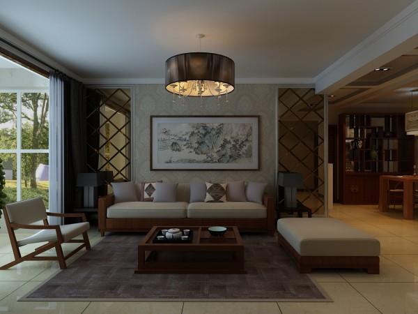 简约风格,背景墙为对称感的设计,咖色镜面的装饰让空间增加一些光线感,菱形的图案则更有视觉拉伸感,中间的花纹壁纸,木质家具的选择,呈现出一种淡雅感