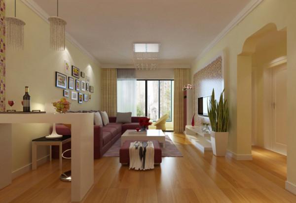金林中心三居室简约风格装修效果图【客厅设计效果图】