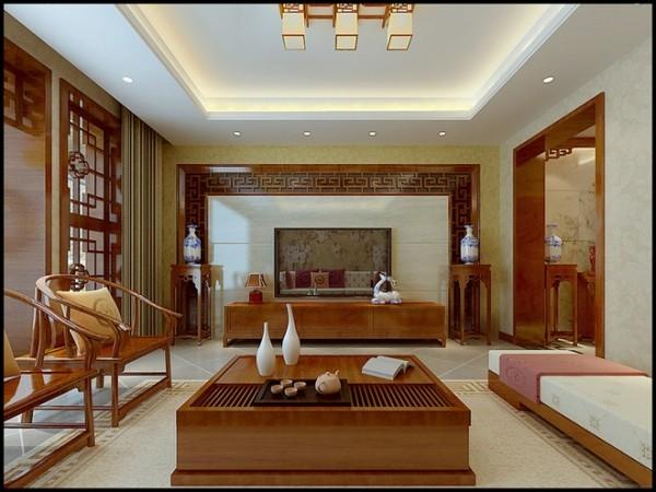 远见小区三居室中式风格客厅装修设计效果图案例展示