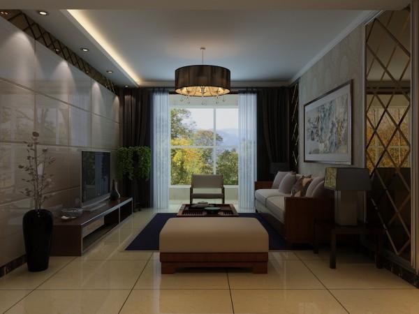 简约的风格家居设计,崇尚简洁的空间搭配,品质的家居生活,电视背景墙的设计用大理石做墙体干挂处理,其中融入了咖色镜面做围边装饰,吊灯处做了下返,用灯光做照射,呈现出它们光洁的质感