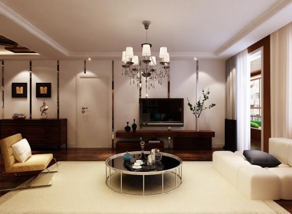 国际城四期三居室现代简约风格客厅装修设计效果图展示