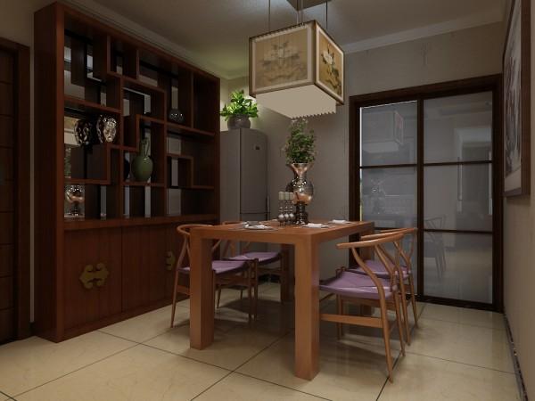 餐厅,用家具配饰填充整个空间,木质的餐桌椅设计融入了中式韵味的,精美的吊灯与之格调相同,装饰画似的描绘成为一种点缀,木质的装饰柜承接了博古架的造型,装饰收纳一体