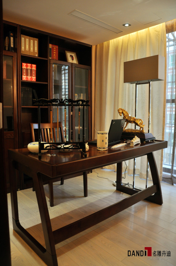 名雕丹迪别墅设计--天御山别墅--现代中式--书房