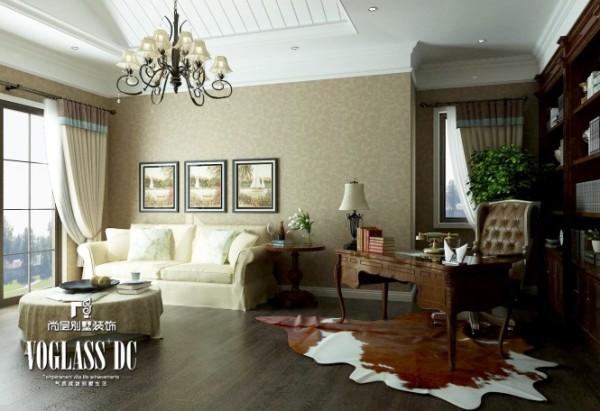 书房—书房的设计简单明快,白色的沙发和木质的书桌椅交相辉映,整体布局很和谐。
