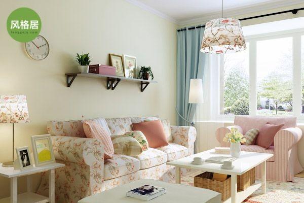 超凡装饰—清华大溪地—117平三室两厅—田园风格—设计师高优—客厅沙发背景墙