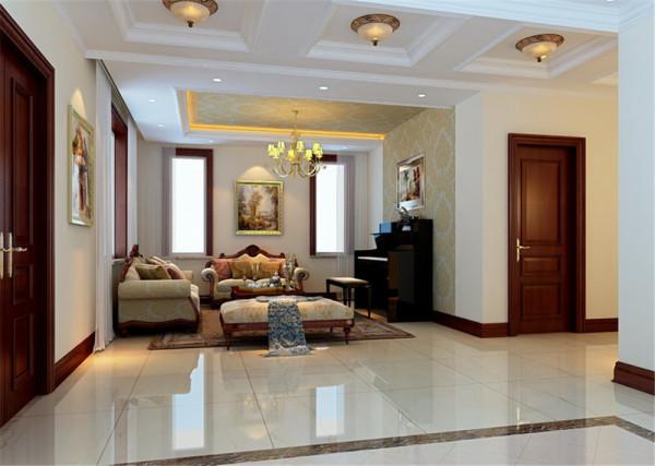 客厅的白色墙面与大理石地面拼花散发出的是淡雅清新的现代简欧味道,时尚的白色调沙发与装饰品的摆放,以及石膏板与壁纸构造的电视背景墙,