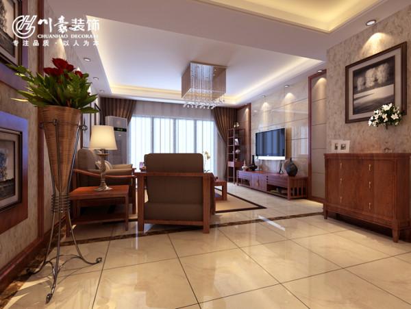 华地紫园139㎡中式装修设计,客厅效果图,地面铺地砖。