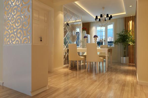 成都实创装饰—整体家装—100平米—简约欧式风格—餐厅装修效果图